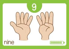 Flashcard number nine. This illustration is about flashcard. use to study for kid Stock Photography