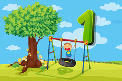 Flashcard number 1 with one children in the park Royalty Free Stock Images