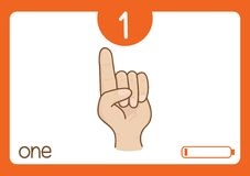 Flashcard number one. This illustration is about flashcard. use to study for kid Stock Photos