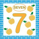 Flashcard with number 7 seven. Education for children. Learning numbers, mathematics Royalty Free Stock Image