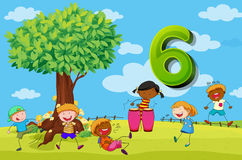 Flashcard number 6 with six children in the park Royalty Free Stock Images