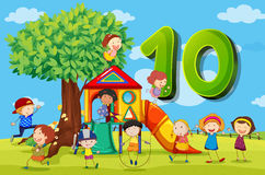 Flashcard number 10 with ten children in the park Royalty Free Stock Images