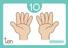 Flashcard number ten. This illustration is about flashcard. use to study for kid Stock Photos