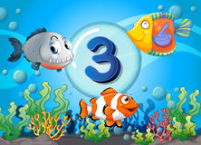Flashcard number three with 3 fish underwater. Illustration Stock Photo