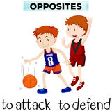 Flashcard for opposite words attack and defend. Illustration royalty free illustration