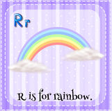 Flashcard of R is for rainbow Stock Image