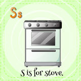 Flashcard of S if for stove Stock Photography