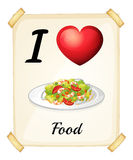A flashcard showing the love of foods Stock Photos