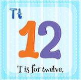 Flashcard of T is for twelve Stock Images