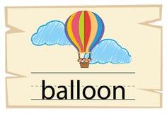 Flashcard for word balloon. Illustration vector illustration
