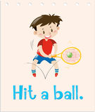 Flashcard with word hit a ball Stock Photography