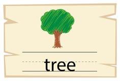 Flashcard for word tree. Illustration Stock Image