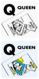 Flashcards da letra Q ilustração royalty free