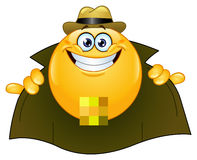 Flasher emoticon. Emoticon design of a flasher Stock Image