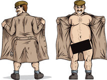 Flasher. Flashing. With vector, Black box can be removed to show full nudity Stock Photos