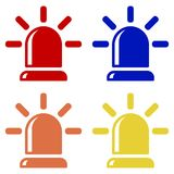 Flasher icons, alarm siren red, blue, orange and yellow. Isolated vector on white background.  Royalty Free Stock Images