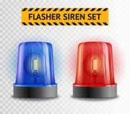 Flasher Siren Transparent Set Stock Photography
