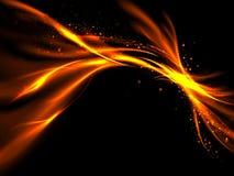 Flashes ardientes del extracto anaranjado del oro con las estrellas en fondo negro Imágenes de archivo libres de regalías