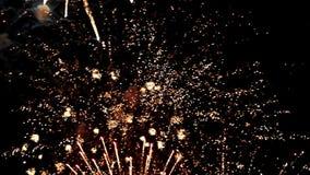 Flashes brillantes hermosos de fuegos artificiales en cielo almacen de metraje de vídeo
