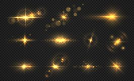 Flashes lights and sparks. Realistic golden shiny flare, transparent sun light effects, particles and star burst. Vector
