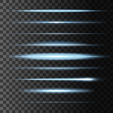 Flashes star light lines, vector glow lights blur. Glowing light flashes and abstract luminous blur horizontal lights lines. Vector set of linear glow stripes Stock Photography