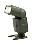 Flashgun. Mounted on a plate, onto white background Royalty Free Stock Photography