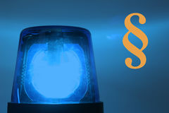 Flashing blue light. Police cars drive with activated flashing blue lights, if they are traveling to a crime Stock Photos