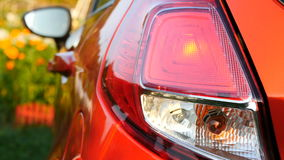 Flashing car turn signal indicating the left direction stock footage