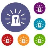 Flashing emergency light icons set Stock Images