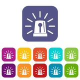 Flashing emergency light icons set Stock Photo