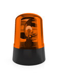 Flashing light. 3d render of orange flashing light on a white background Royalty Free Stock Images