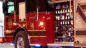 Flashing light and dashboard on coquitlam fire emergency personnel stock footage