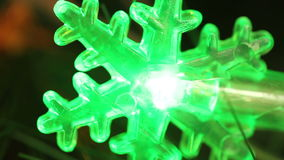 Flashing light garlands in the form snowflakes. stock footage
