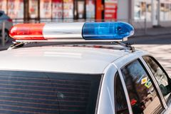 Flashing light police car royalty free stock photography