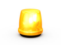 Flashing Light Yellow. Yellow or orange flashing and glowing emergency light, signal for warning, isolated on white background Stock Images