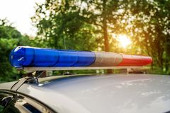Flashing lights on the police car close-up stock images