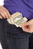 Flashing money pocket Stock Images