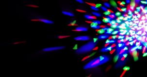 Flashing shiny multicolor stage lights circular movement entertainment disco dance, spotlight projectors in the dark, colorful stock video footage