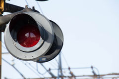 Flashing signal of the level crossing Stock Images