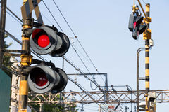 Flashing signal of the level crossing Royalty Free Stock Images