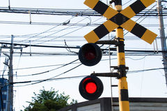 Flashing signal of the level crossing Royalty Free Stock Photos