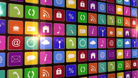 Flashing wall of app icons stock footage