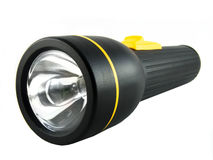 Flashlight. Stainless  cell flashlight on black Royalty Free Stock Photo