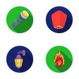 A flashlight, an air lantern, a lantern on the wall, a bonfire.Light source set collection icons in flat style vector. Symbol stock illustration Royalty Free Stock Photography