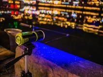 Flashlight Blue LED light searching for fish