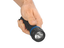 Flashlight in hand Royalty Free Stock Images