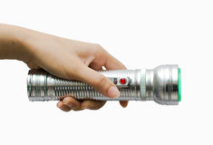 Flashlight with hand. The Monitor and detect Safety Royalty Free Stock Images