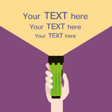 Flashlight in hand with sample text flat illustration Royalty Free Stock Photos
