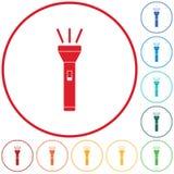 Flashlight icon. Portable torch stock illustration