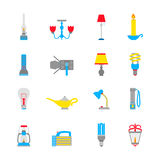 Flashlight and Lamps Icons Stock Photos